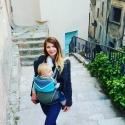 """Sac pour porte-bébé turquoise """"Princes et princesses aux petits pois"""""""